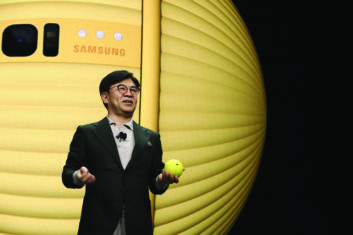 Hyun-Suk Kim, president and CEO of Samsung's consumer electronics division at CES 2020