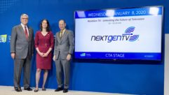 NAB president Gordon Smith, ATSC president Madeleine Noland, CTA president and CEO Gary Shapiro discussing NextGen TV at CES 2020.